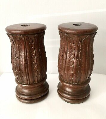 Arts & Crafts Gothic Church Carved Candle Sticks Acanthus Leaf Pattern c1900