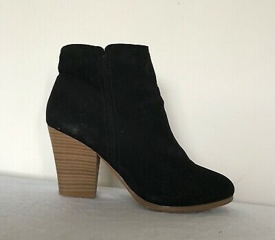 Dorothy Perkins Womens Ankle Boots Size Uk 7 Black Faux Suede