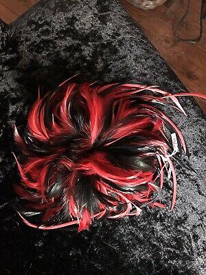 Brand New Red And Black Feather Facinator