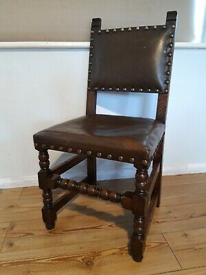Set Of 4 Dining Chairs Oak Leather Edwardian replica sturdy antique preowned