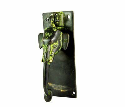 Handmade Brass Black Green Ganesha Design Elephant Door Knocker