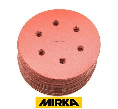 150mm Sanding Discs MIRKA Hook and Loop 6 inch Sandpaper Pads Assorted Grits 6 H