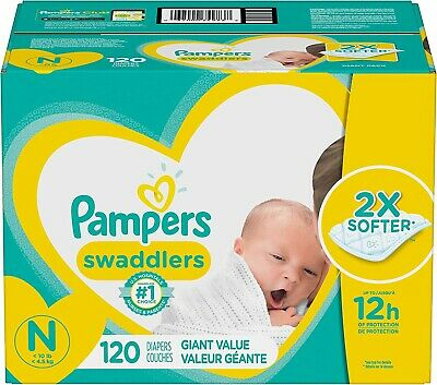 Diapers Newborn / Size 0 (< 10 lb), 120 Count - Pampers Swaddlers Disposable Bab