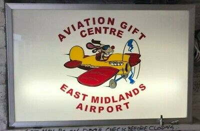 illuminated sign aviation shop sign east midlands airport double sided indoor