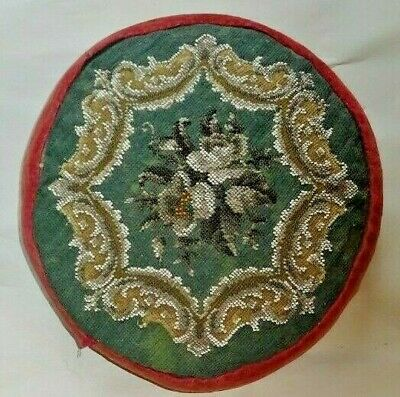 Antique Victorian Bead Work And Tapestry Footstool Or Cushion