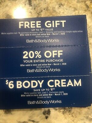 Bath And Body Works Coupon ~ 20% Off ~ $6 Cream & More ~ Online InStore Exp 3-1
