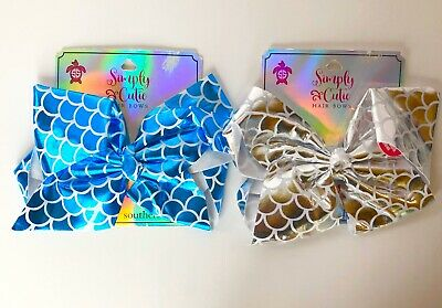 2 Simply Southern Baby Girl Big Hair Bows Silver & Blue Mermaid Scales 7 inch