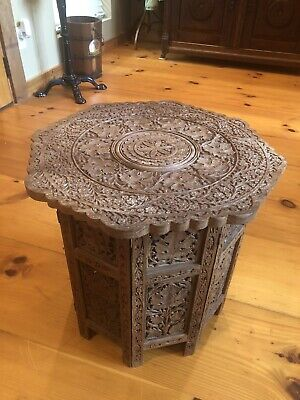 VTG Indian Hand Carved Octagon Wooden Folding End Table 18x18 Inches