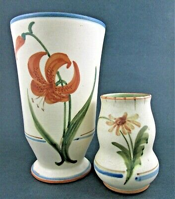 PAIR of WELLER Art Pottery VASES - BONITO - Hand Painted LILY & DAISY 1927-1936
