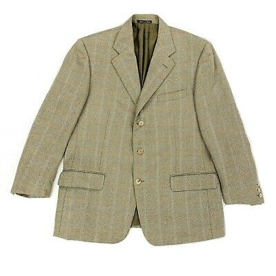 Cantarelli Bergdorf Goodman Windowpane Beige Sport Coat 100% Wool IT 54 US 44R