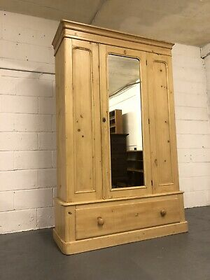 A Beautifully Waxed Victorian Antique Pine Wardrobe With Mirror Drawer Key