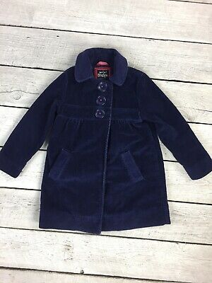 Mini Boden Girls Coat Size 5-6 Navy Blue Corduroy Snap Button Jacket Pockets