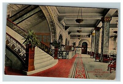 Office and Lobby View, Auditorium Hotel, Chicago IL c1911 Postcard P10