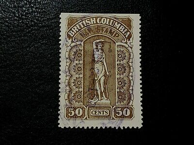 Canada Stamp #BCL34a British Columbia 50 Cents Law Stamp Revenue BC #A099