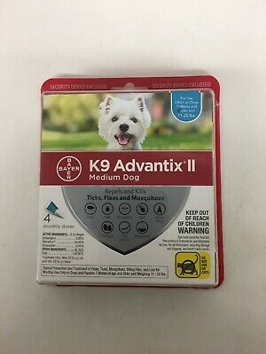 Bayer K9 Advantix II Medium Dogs 11-20 lbs - 4 Monthly Doses NEW Sealed