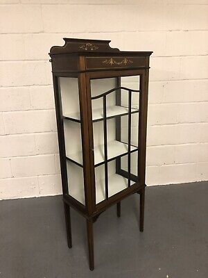 Antique Edwardian Inlaid Mahogany Glazed Display Cabinet With Key China Cabinet