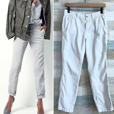 J Crew Sunday Slim Slouchy Chino Ankle Pants White Mid Rise Cotton Womens 00