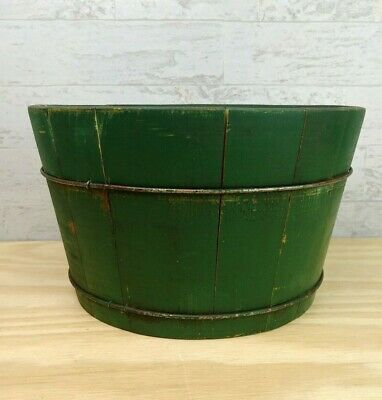 Early Primitive Antique Wooden Staved Painted Bucket Green Metal Banded Pail