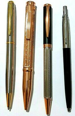 4 x beautiful glam Parker Style stainless steel ballpoint pens- Black/Blue ink
