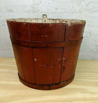 Early Primitive Wooden Staved Sap Bucket Red Painted Metal Banded Pail Chippy