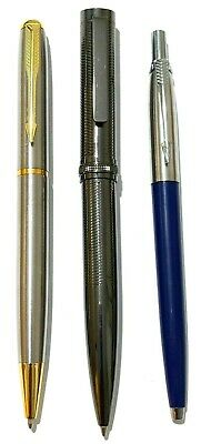 3 x strong & stylish Parker Style stainless steel ballpoint pens -Black/blue ink