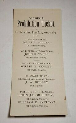 1893 Virginia Prohibition Ticket Election Day Nov. 7th Paper Ballot Rare