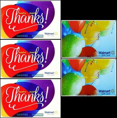 5x WALMART 2010 USA NEW YEAR BALLOONS & US THANK YOU COLLECTIBLE GIFT CARD LOT