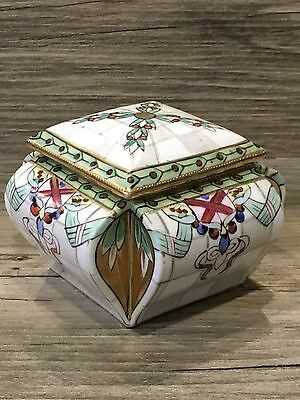 Handpainted NIPPON Square Covered Compote Candy Dish Indented Sides Morimura