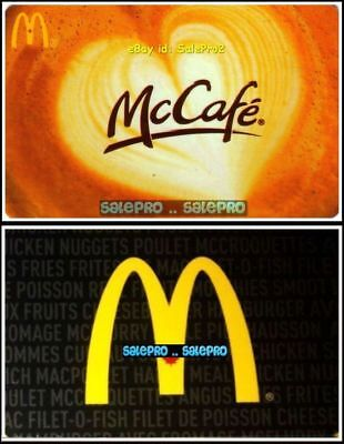 2x McDONALD CHICKEN NUGGET ESPRESSO McCAFE FR/ENG COLLECTIBLE GIFT CARD LOT
