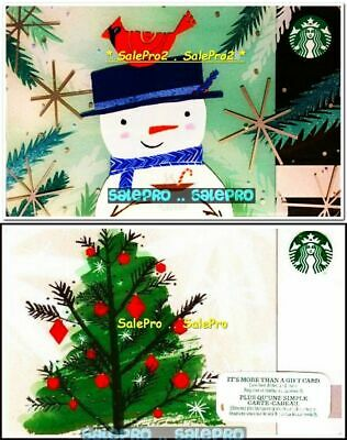 2x STARBUCKS 2015 2017 CANADIAN CHRISTMAS TREE SNOWMAN COLLECTIBLE GIFT CARD LOT