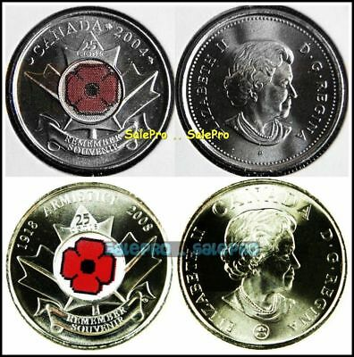 2x CANADA 2004 2008 CANADIAN QUARTER WWII RED COLORIZED POPPY 25 CENT COIN LOT