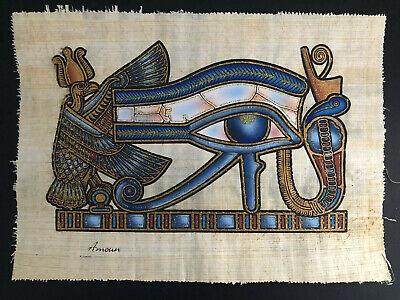 "EGYPTIAN ORIGINAL HAND PAINTED PAPYRUS 8""x12"" (20x30cm) - The Eye Of Horus"