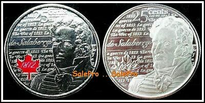 2x CANADA 2013 SALABERRY WAR OF 1812 REG & RED COLORIZED 25 CENT COIN LOT UNC