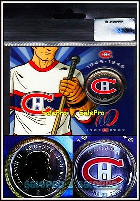 Canada 1909 2009 Montreal Canadiens Habs White Jersey 50 Cent Colorized Coin Unc