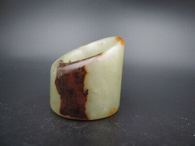 Big Antique Chinese Natural Heian Jade Ring Hand-carved Old Jade Ring