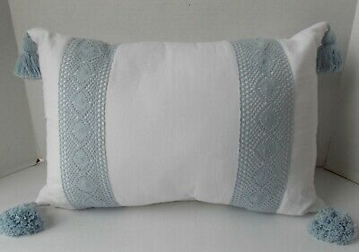 Simply Shabby Chic White with Blue Crochet Throw Pillow with Tassels ~ NEW