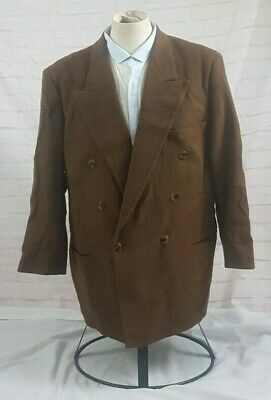 Hugo Boss Men's Sport Coat Jacket Double Breasted Wool Cashmere Brown Size 42R
