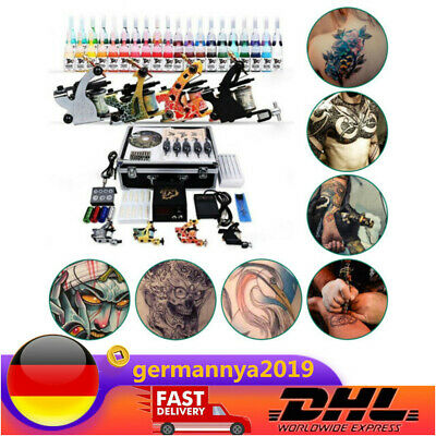 4 Tattoomaschine  50 Nadeln 40 color inks Tattoo Kit Tätowierung Komplett NEU