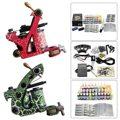 20 Farben Tinte Nadel Kit 2 Tattoo Maschine Guns Komplett Set Tätowiermaschine