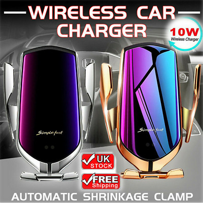 2 In 1 10W Qi Fast Charging Charger Wireless Automatic Sensor Car Phone Holder