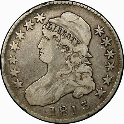 1813 50c Capped Bust Half Dollar VF original rare old type coin money