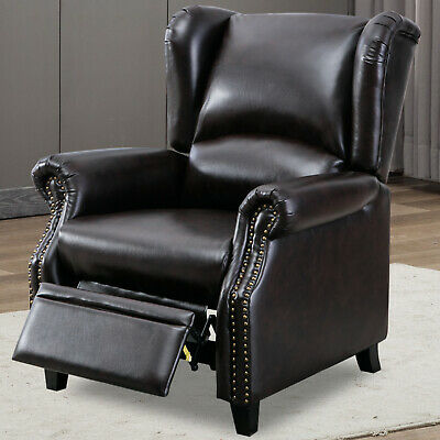 Accent Push Back Chair-Modern Recliner Chair Single Sofa Padded Seat Home Decor