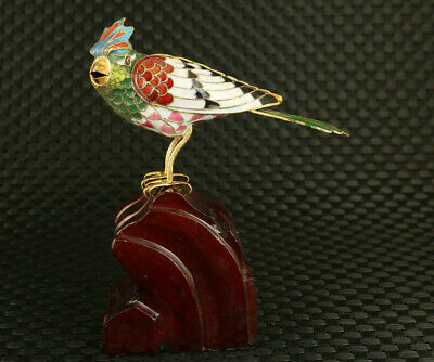 Big chinese cloisonne Handpainted green bird statue pendant decorate collection