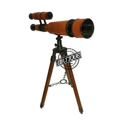 Valentine Vintage Double Barrel Brass Telescope with Tripod Antique Nautical