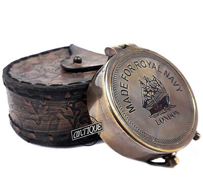 Valentine Brass Compass Nautical Kompass with Leather Case Gift Father/Mother