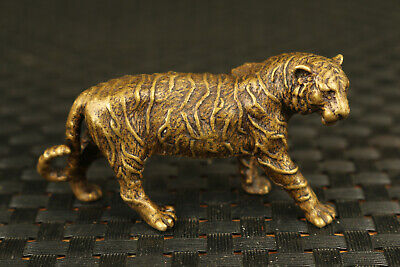 Chinese bronze tea pet tiger statue figure hand piece good stand table deco