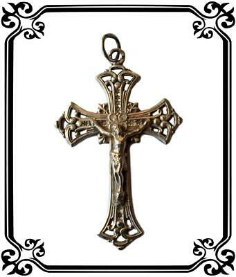 Antique French Sterling Silver Cross Crucifix Pendant