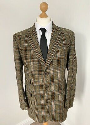 "Tailored Made Wool Checked Plaid Single Breasted Blazer Jacket Vintage 44"" L 33"""