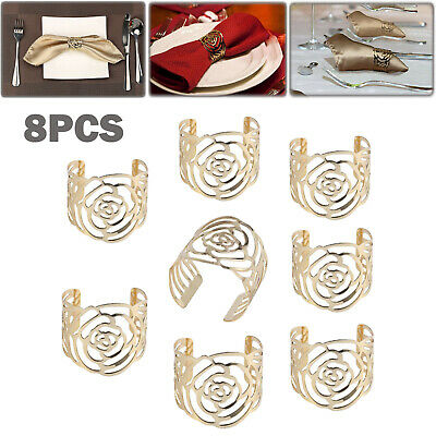 8×Napkin Rings Buckle Rose Design Metal Napkin Holder For Wedding Antique Party