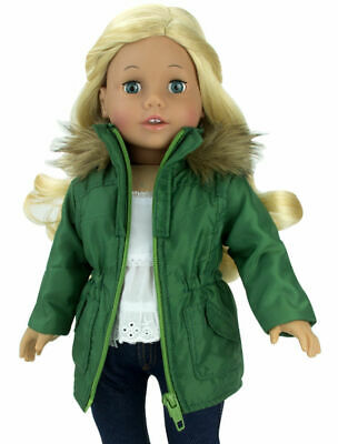 "Green Nylon Jacket with Fur Trim Doll Clothes For 18"" American Girl Dolls"